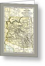Arizona Territory Antique Map 1891 Greeting Card