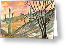 Arizona Evening Southwestern Landscape Painting Poster Print  Greeting Card