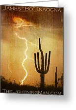 Arizona Saguaro Lightning Strike Poster Print Greeting Card