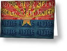 Arizona State Flag Vintage License Plate Art Greeting Card