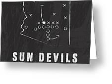 Arizona State Sun Devils / Ncaa College Football Art / Tempe Greeting Card by Damon Gray