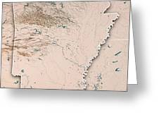Arkansas State Usa 3d Render Topographic Map Neutral Border Greeting Card