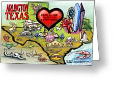 Arlington Texas Cartoon Map Greeting Card