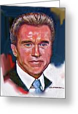 Arnold Schwarzenegger Greeting Card by Dean Gleisberg