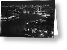 Arrabida Bridge By Night Greeting Card
