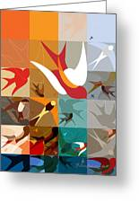 Arraygraphy - Birdies Triptych Part2 Greeting Card