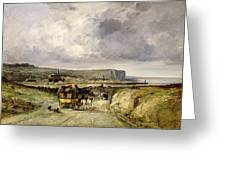 Arrival Of A Stagecoach At Treport Greeting Card