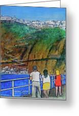 Arriving  At Thira Santorini Greece Greeting Card