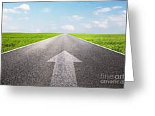 Arrow Sign Pointing Forward On Long Empty Straight Road Greeting Card