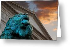 Art And Lions Greeting Card