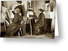 Art Class Oil Painting Teacher  And Art Students 1900 Greeting Card