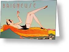 Art Deco Beach Bather Greeting Card