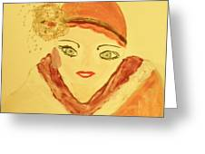 Art Deco Girl In The Red Hat Greeting Card