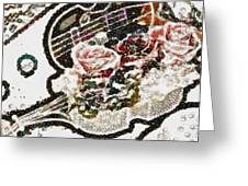 Art Violin And Roses Pearlesqued In Fragments  Greeting Card