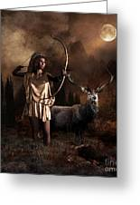 Artemis Goddess Of The Hunt Greeting Card