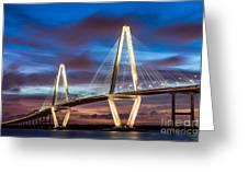 Arthur Ravenel Bridge At Night Greeting Card