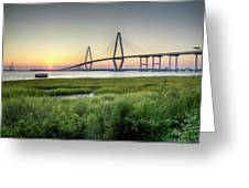Arthur Ravenel Bridge Sunset Greeting Card