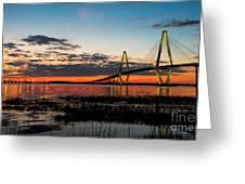 Arthur Ravenel Bridge Twilight Greeting Card