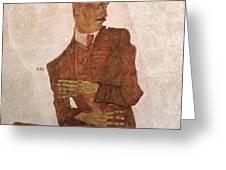 Arthur Roessler Greeting Card by Egon Schiele