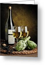Artichokes And Wine Greeting Card
