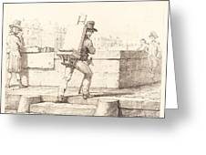 Artist Carrying Easel With A Lithographic Stone Greeting Card