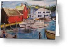 Artist In New England Dock Greeting Card