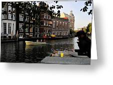 Artist On Amsterdam Canal Greeting Card