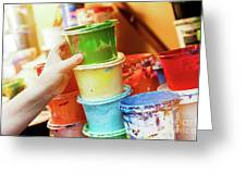 Artist Reaching For A Liquid Paint Container. Greeting Card