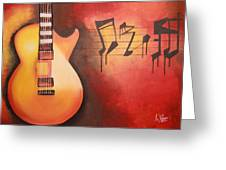 Artistic Guitar With Musical Notes Greeting Card