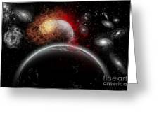 Artists Concept Of Cosmic Contrast Greeting Card by Mark Stevenson