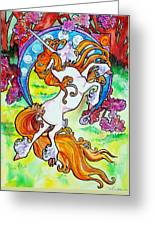 Artsy Nouveau Unicorn Greeting Card