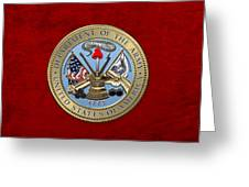 U. S. Army Seal Over Red Velvet Greeting Card