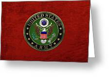 U. S.  Army Emblem Over Red Velvet Greeting Card