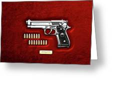 Beretta 92fs Inox With Ammo On Red Velvet  Greeting Card