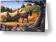 Raking Hay Field Rustic Country Farm Folk Art Landscape Greeting Card