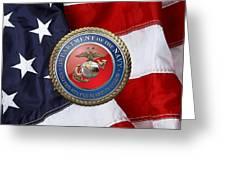 U. S. Marine Corps - U S M C Seal Over American Flag. Greeting Card