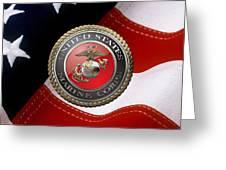 U S M C Emblem Over American Flag Greeting Card