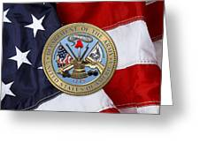 U. S. Army Seal Over American Flag. Greeting Card