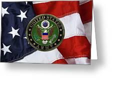 U. S. Army Emblem Over American Flag. Greeting Card