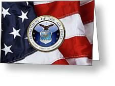 U. S.  Air Force  -  U S A F Emblem Over American Flag Greeting Card