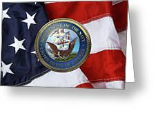 U. S.  Navy  -  U S N Emblem Over American Flag Greeting Card