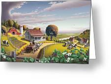 Appalachian Blackberry Patch Rustic Country Farm Folk Art Landscape - Rural Americana - Peaceful Greeting Card
