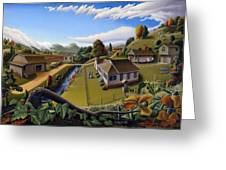 Appalachia Summer Farming Landscape - Appalachian Country Farm Life Scene - Rural Americana Greeting Card