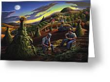 Autumn Farmers Shucking Corn Appalachian Rural Farm Country Harvesting Landscape - Harvest Folk Art Greeting Card