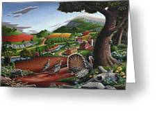 Wild Turkeys In The Hills Country Landscape - Square Format Greeting Card