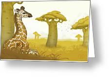 Giraffe And Savanna Greeting Card