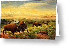 Buffalo Fox Great Plains Western Landscape Oil Painting - Bison - Americana - Historic - Walt Curlee Greeting Card