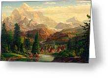 Indian Village Trapper Western Mountain Landscape Oil Painting - Native Americans Americana Stream Greeting Card