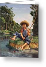 Boy Fishing In River Landscape - Childhood Memories - Flashback - Folkart - Nostalgic - Walt Curlee Greeting Card