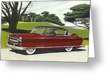 1953 Nash Rambler Car Americana Rustic Rural Country Auto Antique Painting Red Golf Greeting Card